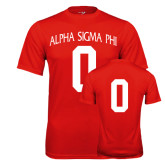 Performance Red Tee-Alpha Sigma Phi Arch, Personalized w/ Number