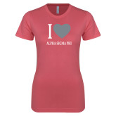 Next Level Ladies SoftStyle Junior Fitted Pink Tee-I Heart Alpha Sigma Phi