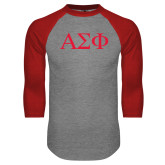 Grey/Red Raglan Baseball T Shirt-Greek Letters