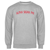 Grey Fleece Crew-Alpha Sigma Phi Arch
