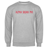 Grey Fleece Crew-Alpha Sigma Phi Flat