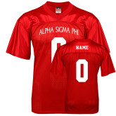Replica Red Adult Football Jersey-Personalized Arched Alpha Sigma Phi