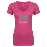 Next Level Ladies Junior Fit Deep V Pink Tee-I Heart Alpha Sigma Phi