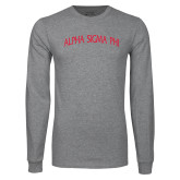 Grey Long Sleeve T Shirt-Alpha Sigma Phi Arch