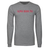 Grey Long Sleeve T Shirt-Alpha Sigma Phi Flat