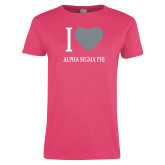 Ladies Fuchsia T Shirt-I Heart Alpha Sigma Phi