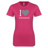 Ladies SoftStyle Junior Fitted Fuchsia Tee-I Heart Alpha Sigma Phi