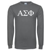 Charcoal Long Sleeve T Shirt-Greek Letters