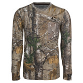 Realtree Camo Long Sleeve T Shirt w/Pocket-Greek Letters Tone