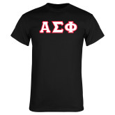 Black T Shirt-Greek Letters Tackle Twill, Tackle Twill