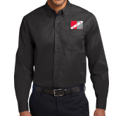 Black Twill Button Down Long Sleeve-Fraternity Flag