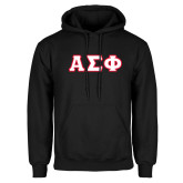 Black Fleece Hoodie-Greek Letters Tackle Twill, Tackle Twill