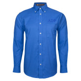 Mens Royal Oxford Long Sleeve Shirt-Greek Letters Tone