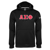 Under Armour Black Performance Sweats Team Hoodie-Greek Letters Tackle Twill, Tackle Twill
