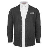 Charcoal V Neck Cardigan w/Pockets-Greek Letters