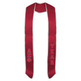 2018 Red Graduation Stole w/White Trim-Small Greek Letters Tackle Twill Stacked