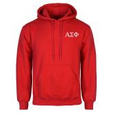 Red Fleece Hoodie-Greek Letters