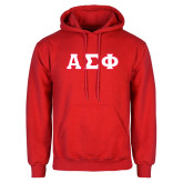 Red Fleece Hoodie-Greek Letters Tackle Twill, Tackle Twill
