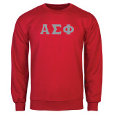 Red Fleece Crew-Greek Letters Tackle Twill, Tackle Twill