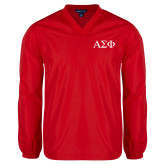 V Neck Red Raglan Windshirt-Greek Letters