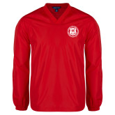 V Neck Red Raglan Windshirt-Seal