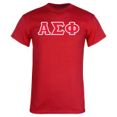 Red T Shirt-Greek Letters Tackle Twill, Tackle Twill