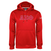 Under Armour Red Performance Sweats Team Hoodie-Greek Letters Tackle Twill, Tackle Twill
