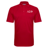 Red Textured Saddle Shoulder Polo-Greek Letters