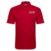 Red Textured Saddle Shoulder Polo-Greek Letters