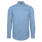Red House Lt Blue Long Sleeve Shirt-Greek Letters Tone