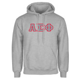 Grey Fleece Hoodie-Greek Letters Tackle Twill, Tackle Twill