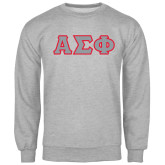 Grey Fleece Crew-Greek Letters Tackle Twill, Tackle Twill