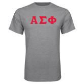 Grey T Shirt-Greek Letters Tackle Twill, Tackle Twill