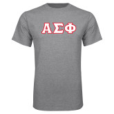 Grey T Shirt-Greek Letters Tackle Twill, Tackle Twill