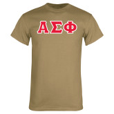 Khaki Gold T-Shirt-Greek Letters Tackle Twill, Tackle Twill
