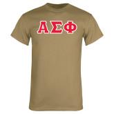 Khaki Gold T Shirt-Greek Letters Tackle Twill, Tackle Twill
