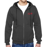 Charcoal Fleece Full Zip Hoodie-Greek Letters