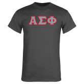 Charcoal T Shirt-Greek Letters Tackle Twill, Tackle Twill