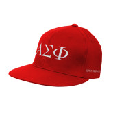 Red OttoFlex Flat Bill Pro Style Hat-Greek Letters