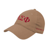 Khaki Twill Unstructured Low Profile Hat-Greek Letters