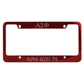 Metal Red License Plate Frame-Alpha Sigma Phi Flat Engraved