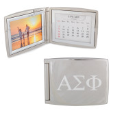 Silver Bifold Frame w/Calendar-Greek Letters Engraved