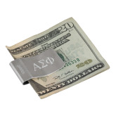 Zippo Silver Money Clip-Greek Letters Engraved