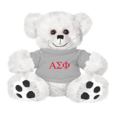Plush Big Paw 8 1/2 inch White Bear w/Grey Shirt-Greek Letters