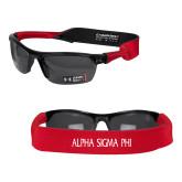 Croakies Red Thin Band Sunglasses Strap-Alpha Sigma Phi Flat