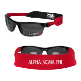 Croakies Red Wide Band Sunglasses Strap-Alpha Sigma Phi Flat