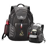 High Sierra Big Wig Black Compu Backpack-Coat of Arms