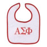 WHITE Bib w/Red trim w/Greek Letters-