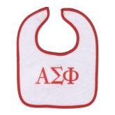 WHITE Bib w/Red trim w/Greek Letters-