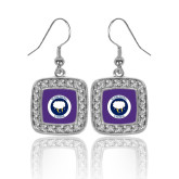 Crystal Studded Square Pendant Silver Dangle Earrings-Marching Storm Cloud Circle